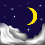 Night sky. Illustration of night sky with clouds, stars and new moon Stock Photo