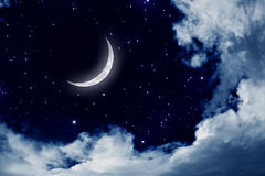 Night sky. Peaceful background, night sky with moon, stars, beautiful clouds. Elements of this image furnished by NASA Stock Photos