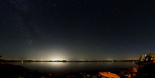 Night sky above a lake with the light of large cities on the opposite side Stock Photo