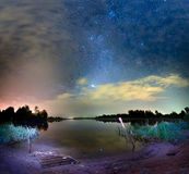 Night Sky Above Lake Seliger In Russia Stock Photo