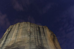 Night sky above rock in Meteora Royalty Free Stock Image