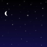 Night Sky Background. Graphic illustration of night sky with stars and moon Stock Photos