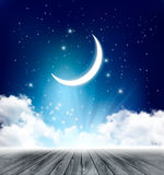 Night sky background with with crescent moon, clouds Royalty Free Stock Photography