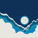 Night sky background with full moon and clouds Royalty Free Stock Photography