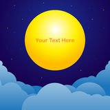 Night sky background with moon text space. Vector illustration Royalty Free Stock Photos