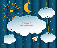 Night sky background. Paper clouds, moon, stars, fireworks and plane flying on night scene background Stock Photography