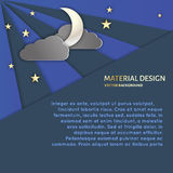 Night sky background. Сrescent, stars , clouds , night sky.Template design. Material design style Stock Illustration