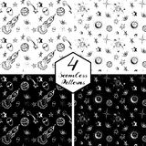 Night sky background. Vector black and white seamless patterns set of a night sky with stars, rockets, aliens and planets Royalty Free Stock Images