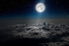 Night sky. Backgrounds night sky with stars and moon and clouds. wood. Elements of this image furnished by NASA Royalty Free Stock Photography