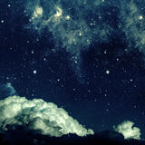 Night sky. Backgrounds night sky with stars and moon and clouds. wood. Elements of this image furnished by NASA Royalty Free Stock Image