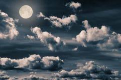 Night sky. Beautiful full moon at the night sky Stock Photos