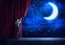 Night Sky Behind Curtain Royalty Free Stock Photography
