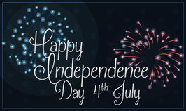 Night Sky with Blue and Red Fireworks for Independence Day, Vector Illustration. Banner with silver Independence Day greeting text in night sky with blue and red Stock Images