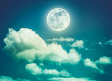 Night sky with bright full moon, serenity nature background. Cro Stock Photos