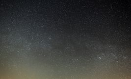 Night sky with a bright star of the Milky Way. Panoramic view stock images