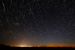 Night sky with bright stars trails. Astrophotography of outer sp. Ace stock image