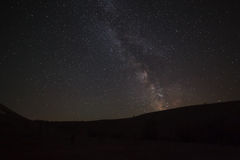 Night sky with bright stars. View of  Milky Way. Royalty Free Stock Photos