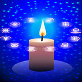 Night sky candle and circle  sign zodiac Royalty Free Stock Photo