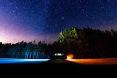 Night sky. And car-spaceship Royalty Free Stock Image