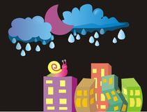 NIGHT SKY AND CITY stock illustration