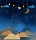 Night sky,cloud, moon and star -paper cut Royalty Free Stock Photos