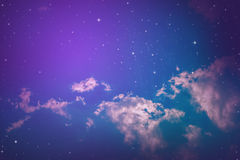Night sky. With cloud and stars stock photo