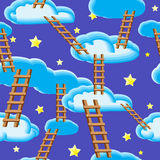 Night sky, clouds, ladders and stars. Seamless pattern. Stock Photography