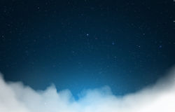 Night sky clouds. Magical starry night sky with clouds background Stock Photography