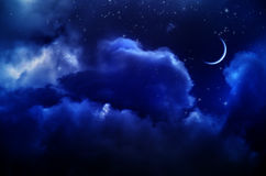 Night sky with clouds and moon Royalty Free Stock Photos