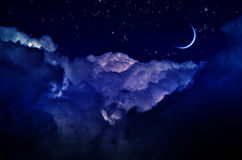 Night sky with clouds and moon Royalty Free Stock Photo