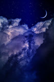 Night sky with clouds and moon Royalty Free Stock Photography