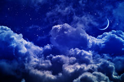Night sky with clouds and moon Stock Photo
