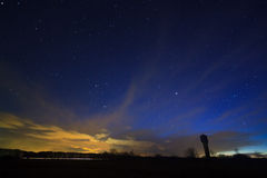 Night sky with clouds over the field Stock Image