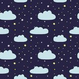 Night sky with clouds and stars. Seamless pattern of kids drawing Royalty Free Illustration