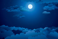 Night Sky with clouds. Royalty Free Stock Photo