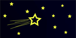 Night sky with comet stock illustration