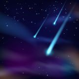 Night sky with comets wallpaper Stock Image