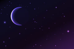 Night sky with a crescent moon and stars Royalty Free Stock Photo