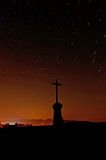 Night Sky with Cross Silhouette Royalty Free Stock Photography