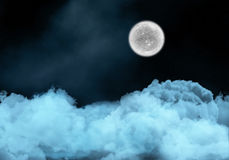 Night sky with fictional moon above clouds Royalty Free Stock Image