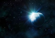 Night sky with fictional planet Stock Images