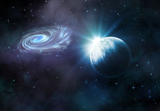Night sky with fictional planet and galaxy Stock Photography