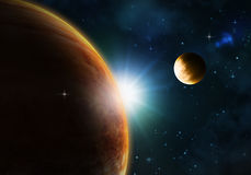 Night sky with fictional planets Stock Photography