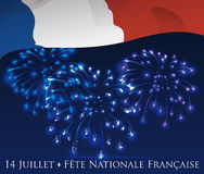 Night Sky with Fireworks and Flag to Celebrate French Independence, Vector Illustration Stock Photos