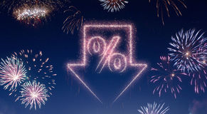 Night sky with fireworks shaped as a discount.series Stock Photos