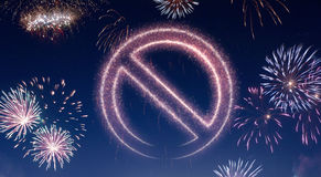 Night sky with fireworks shaped as a forbidden symbol.series Royalty Free Stock Photo