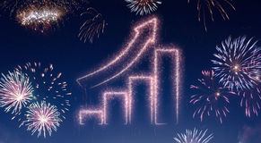 Night sky with fireworks shaped as a growing bar chart.series Stock Photos