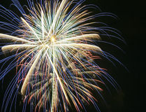 A Night Sky Full of Exploding Fireworks Royalty Free Stock Photography
