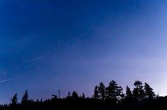 Night sky full of stars. Over the Yosemite Valley stock image