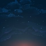 Night Sky Hand Drawn Watercolor Background Stock Photography